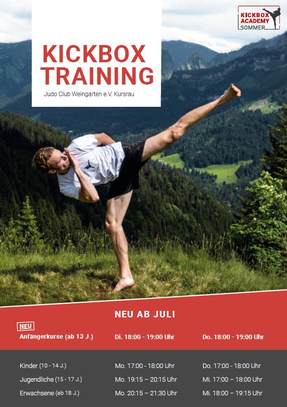 Trainingszeiten Kickbox Academy Sommer Kickboxen Weingarten Ravensburg